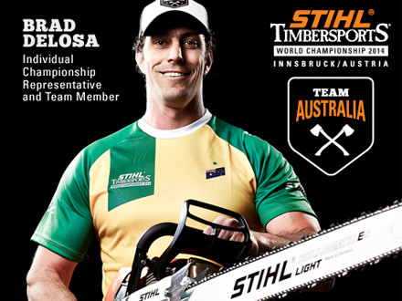 AGE: 37WEIGHT: 103kgHEIGHT: 193 cmLIVES: Lithgow, NSWDAY JOB: Mechanical Fitter / EngineerFAVOURITE DISCIPLINE: Standing BlockHOW MANY AXES: 100+HOT SAW ENGINE: 300 cc RotexFAVOURITE CHAINSAW: MS 661BEST SUCCESS SO FAR: STIHL TIMBERSPORTS World Champion 2013, STIHL TIMBERPORTS Champions Trophy Winner 2014 & Sydney World Championship 2009TIMBERSPORTS WORLD SERIES: No. 10