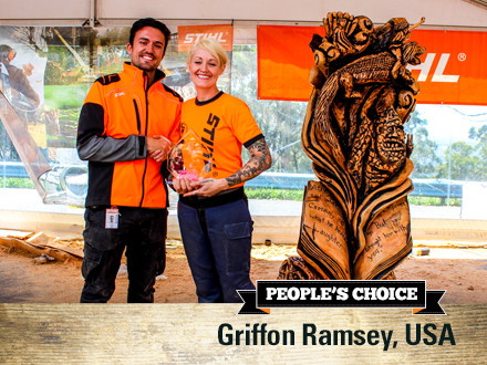 Griffon Ramsey (USA) accepting her award from Lee Gooch (STIHL Australia) for 'Neverending Story'