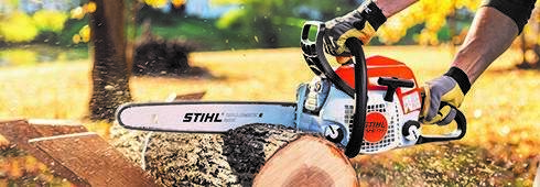 article header chainsaw cutting log